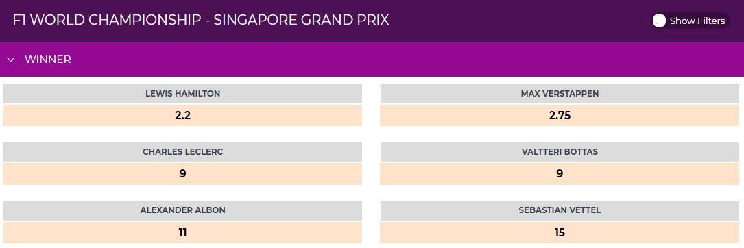 F1 Singapore Grand Prix odds