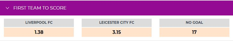 Liverpool vs Leicester First Team to Score