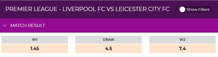 Liverpool vs Leicester Odds