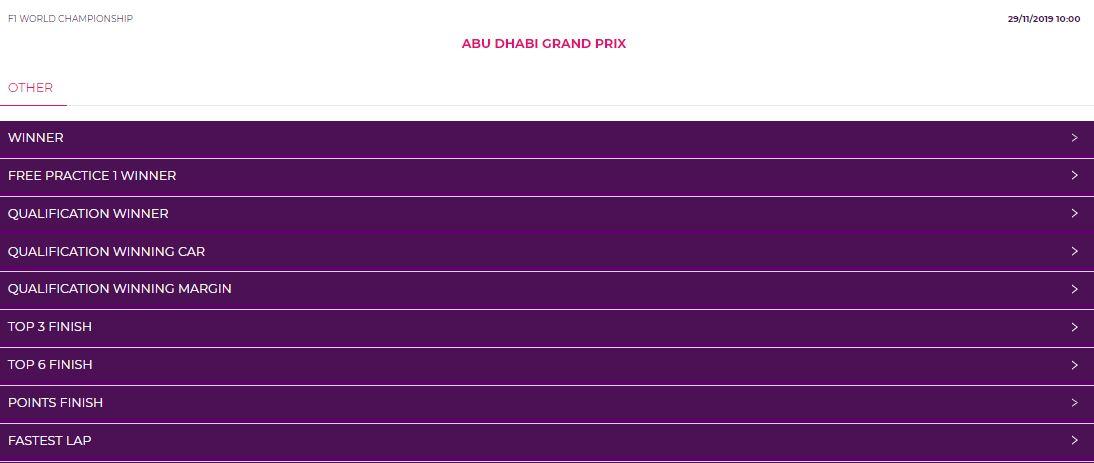 Abu Dhabi GP odds